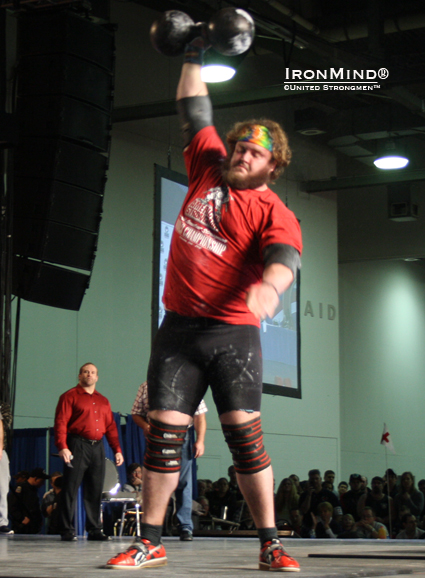 """Adam Scherr during the DB medley in today's finals . . .  The champion deserves a photo due he seemed to be a great showman personality with an [appeareance] between young Bill Kazmaier and Doyle Kenady :),"" Jyrki Rantanen reported to IronMind.  IronMind® 
