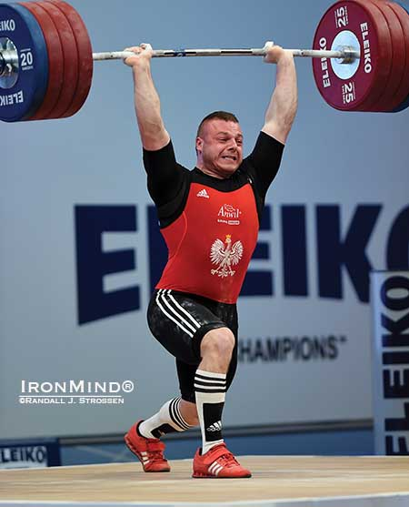 After making a solid clean, Adrian Zielinski missed the jerk on this 215-kg third attempt, but by then he had already won the snatch and total gold medals in the 94-kg class at the European Weightlifting Championships.  IronMind® | Randall J. Strossen photo