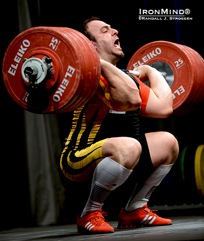 Almir Velagic looked strong on this 231-kg clean and jerk.  IronMind® | Randall J. Strossen photo.