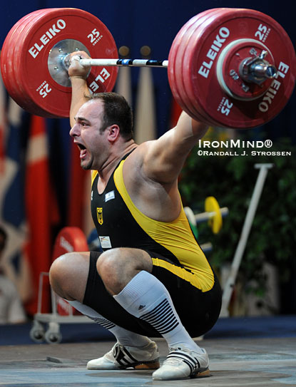 Almir Velagic sank the putt on the 190-kg snatch at the 2009 European Weightlifting Championships.  Velagic made the German team for the Europeans after his big performance at the 2009 Arnold, where Frank Mantek and his lifters would like to return in 2011.  IronMind® | Randall J. Strossen photo.