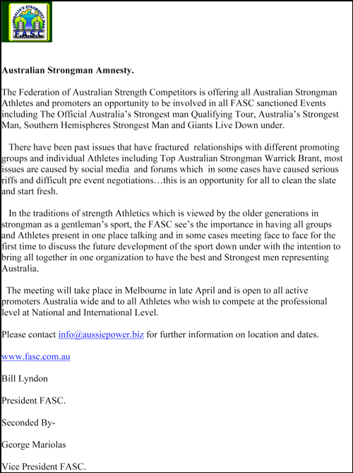 This is the letter announcing Bill Lyndon's proposed amnesty for Australian strongman competitors.  IronMind® | Courtesy of Bill Lyndon.