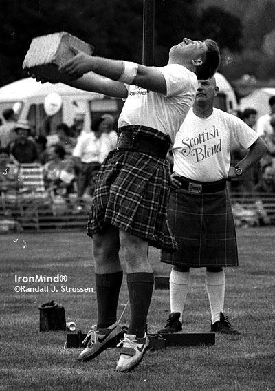 There is a quite a of tradition of strongman-Highland Games crossover. Here's Iceland's Andreas Gudmundsson competing in Callander, Scotland in 1994. IronMind® | Randall J. Strossen, Ph.D. photo.