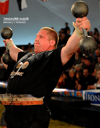 Andrus Murumets on the crucifix at Fortissimus in 2008.  The Estonian grip strength and strongman star was slowed down by some health concerns, but hopes to return to competition in 2011.  IronMind® | Randall J. Strossen photo.
