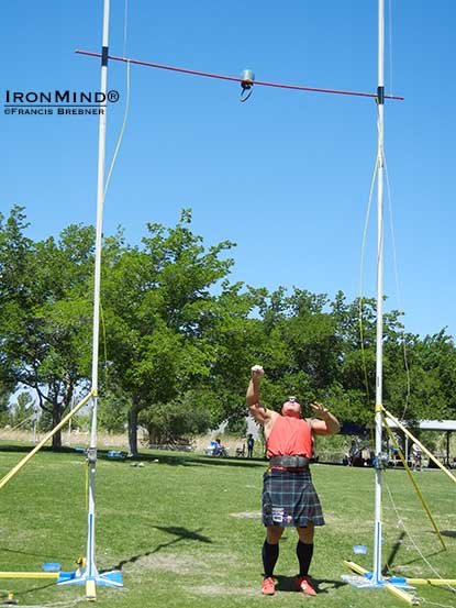 Andy Vincent won the 56-lb. weight for height with an 18-ft. throw and from there he took some shots at breaking the world record.  Very impressive.  IronMind® | Francis Brebner photo.