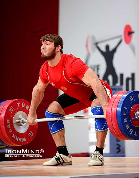 Give him the platform generalship award: from his first snatch onward, Apti Aukadov was a commanding presence and he exuded Winner.  IronMind® | Randall J. Strossen photo