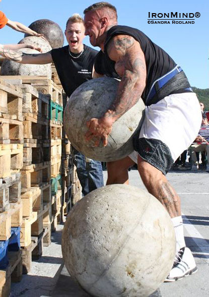 Is the Emperor of Stones back?!  Arild Haugen flashed the stones at a recent Norwegian strongman contest and there are strong rumors that he is in serious contention for one of last remaining slots at the 2011 MET-Rx World's Strongest Man contest.  IronMind® | Photo courtesy of Sandra Rodland.