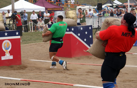 Arild Haugen put Mariusz Pudzianowski in his rearview mirror during this morning's loading race at the 2008 MET-Rx World's Strongest Man contest. IronMind®