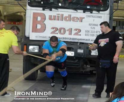 Konstantine Janashia won the strongman competition at the Arnold–Madrid yesterday.  IronMind® | Image courtesy of the Georgian Strongman Federation