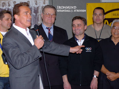 "Pointing to Tommy Kono, California Governor Arnold Schwarzenegger said, ""I wanted to be studly like Tommy . . . ."" IronMind® 