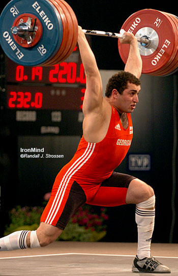 After bombing in the snatch at the 2006 European Weightlifting Championships, Arsen Kasabiev bounced back and stuck this 220-kg jerk for the gold medal in the 94-kg category. IronMind® | Randall J. Strossen, Ph.D. photo.