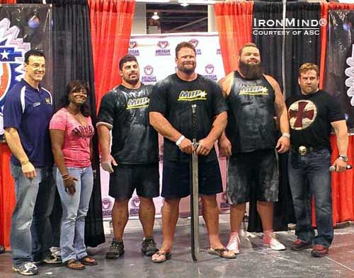 Dione Wessels (second from left) and ASC crowned Mike Burke (center) in the 2012 America's Strongest Man® contest.  IronMind® | Photo courtesy of ASC.