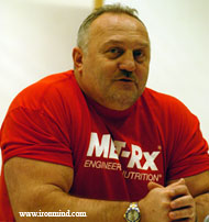 Bill Kazmaier, always in demand, leads a seminar at the 2005 FitExpo (Pasadena, California). IronMind® | Randall J. Strossen, Ph.D. photo.