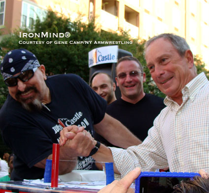 "New York Mayor Michael Bloomberg (right) mows down NY Arm Wrestling founder and president Gene Camp (left) at the 27th Annual White Castle ""Kingsboro"" Arm Wrestling Championships.  IronMind® 