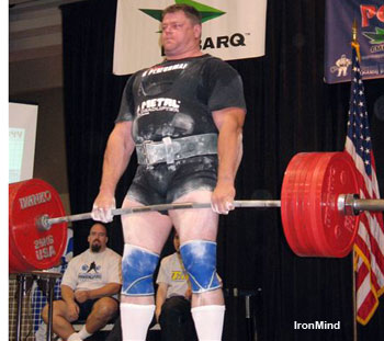 Brad Gillingham pulls, for him, a routine 375-kg deadlift, on his second attempt at the IPF World Masters Championships last weekend. IronMind® | Photo courtesy of Brad Gillingham.