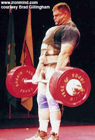 Brad Gillingham pulls 382.5 kg (843 pounds) at the 2001 World Games. IronMind® | Photo courtesy of Brad Gillingham.
