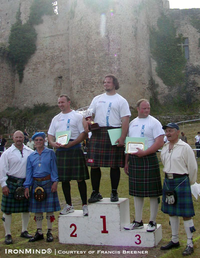The podium and key officials at the 2009 European Highland Games Championships.  IronMind® | Photo courtesy of Francis Brebner.