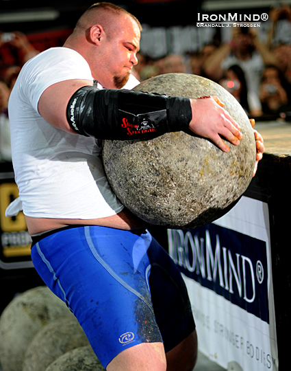 Brian Shaw badly fumbled the third of the five Atlas Stones and anyone else might have either dropped it or simply ended his run at that point, but Shaw regained control, hit the gas pedal again and still managed to win the event, not to mention the overall contest.  This victory earned Brian Shaw an automatic invitation to the 2011 World's Strongest Man contest.  IronMind® | Randall J. Strossen photo.