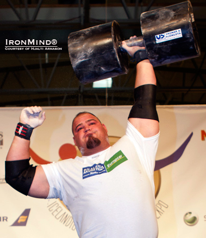 Brian Shaw pounded out 11 reps on the 90-kg Circus Dumbbell, winning both that event and the overall Jon Pall Sigmarsson Classic strongman contest at the premier Icelandic Fitness and Health Expo.  IronMind® | Photo courtesy of Hjalti Arnason.