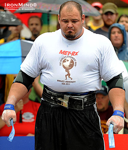 Brian Shaw, winner of World's Strongest Man 2011, will be in Los Angeles to defend his title next month.  IronMind® | Randall J. Strossen photo.