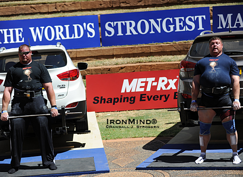 Brian Shaw (left) and Zydrunas Savickas (right) just squared off at the 2010 MET-Rx World's Strongest Man contest.  See them line up again at Giants Live – Istanbul next month.  IronMind® | Randall J. Strossen photo.