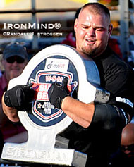 Brian Shaw leads the Worldstrongman Super Series.  IronMind® | Randall J. Strossen photo.