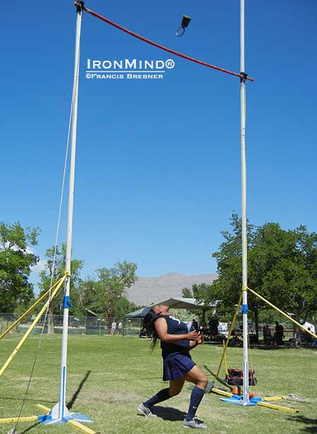 With the bar set at 19 feet, look at the height of Brittany Pryor's attempt and you can see why she's likely to be attacking the weight for height world record soon.  IronMind® | ©Francis Brebner photo