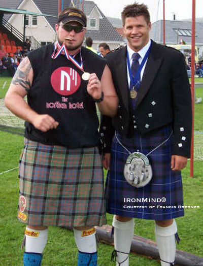 Larry Brock gets his minerals after winning the the British Heavyweight (Highland Games) Championships. IronMind® | Photo courtesy of Francis Brebner.