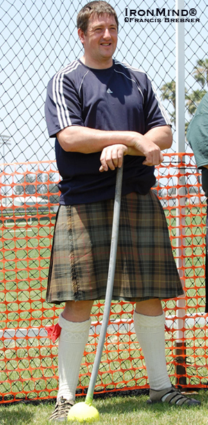 Bruce Aitken beat quite a field to take top honors at the Halkirk Highland Games.  IronMind® | File photo by Francis Brebner (taken at the Costa Mesa Highland Games several years ago).