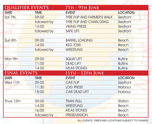 This is the latest schedule for the 2008 Britain's Strongest Man contest, IronMind® | courtesy of TWI/IMG