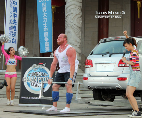 Jean-Francois Caron won the 400-kg car deadlift for reps at SCL–China, beating Zydrunas Savickas by 3 reps.  IronMind® | Courtesy of SCL.