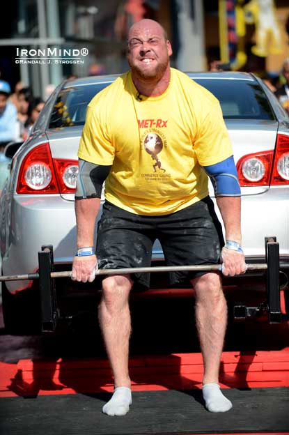 Jean-Francois Caron (Canada) led the charge in the Car Deadlift for reps at the World's Strongest Man contest today.  IronMind® | Randall J. Strossen photo.