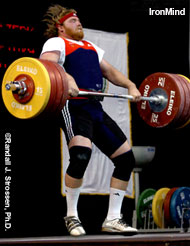 Casey Burgener flies through his opening clean and jerk, 210 kg, at the 2005 World Weightlifting Championships (Doha, Qatar). IronMind® | Randall J. Strossen, Ph.D. photo.