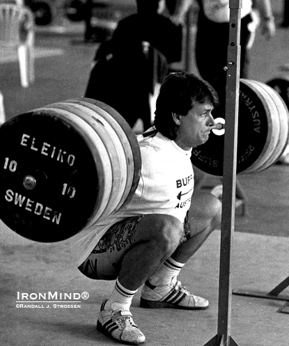 No belt, no wraps, no spotters: 91-kg Ivan Chakarov squats 270 kg for a triple in the training hall at the 1993 World Weightlifting Championships.  IronMind® | Randall J. Strossen photo.