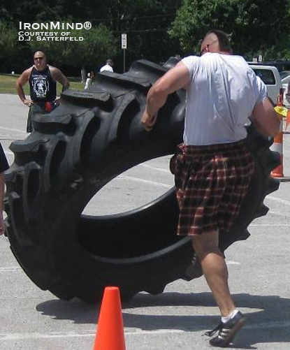 Charles Kasson, heavyweight champion, on the tire flip.  IronMind® | Photo courtesy of D.J. Satterfield.