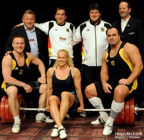 Dr. Christian Baumgartner accompanied the German men's Olympic weightlifting team to the 2009 Arnold for the IronMind Invitational.  Left to right: Frank Mantek,  Michael Vater, Matthias Steiner, Christian Baumgartner (standing); Juergen Spiess, Ingrid Marcum (USA), Almir Velagic(sitting).  IronMind® | Randall J. Strossen photo.