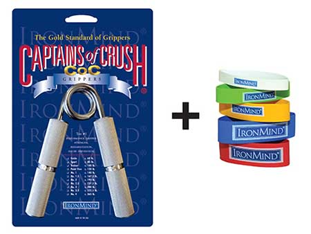 Pair a Captains of Crush (CoC) Gripper with a set of Expand-Your-Hand Bands and you've got the basics for building strong and healthy hands.  Image ©IronMind Enterprises, Inc.