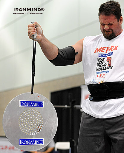 Mike Burke had quite a weekend at the 2012 LA FitExpo: first he won the strongman contest and then he grabbed second place at the grip competition, where the IronMind CoC Silver Bullet Challenge made its debut.  IronMind® | Randall J. Strossen photo.