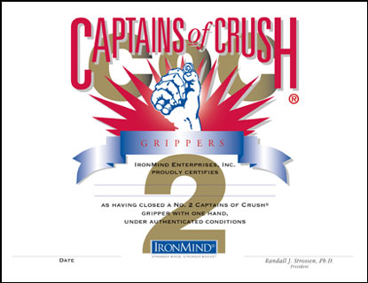 Starting immediately, IronMind will certify women who officially close the Captains of Crush (CoC) No. 2 gripper.  Artwork courtesy of IronMind Enterprises, Inc.