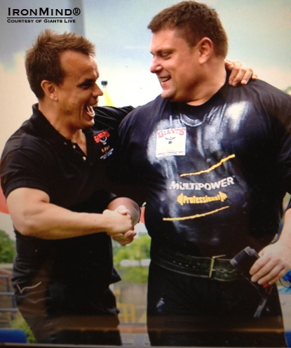 Colin Bryce (left) of Giants Live and World's Strongest Man fame congratulates Zydrunas Savickas on his victory at the 2012 Europe's Srongest Man contest today.  IronMind® | Photo courtesy of Giants Live.