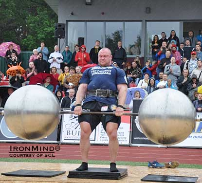 Dainis Zageris (Latvia) brushed aside all competitors but one at MHP SCL–Serbia, serving notice that he's hunting for scalps in the strongman world.  IronMind® | Photo courtesy of SCL.                                                                 ###