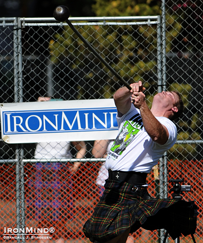 "Dan McKim set a new team world championships record in the 16-lb. hammer today in Pleasanton, California, with a distance of  142' 8-1/2"".  IronMind® 