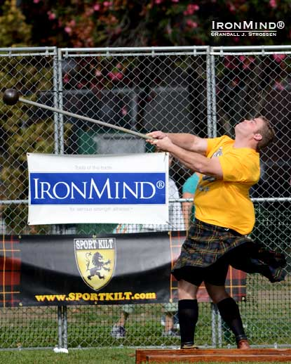 Tell it goodbye: Dan McKim won both hammers, but it was his consistency across events that nailed his individual victory in Pleasanton, California at one of the world's largest and most prestigious Highland Games competitions.  IronMind® | Randall J. Strossen photo.
