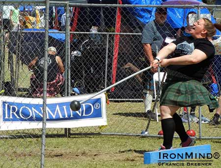 Danielle Curry won the 2014 Women's Highland Games World Championships, hosted by the Arizona Scottish Gathering and Highland Games.  IronMind® | Francis Brebner photo