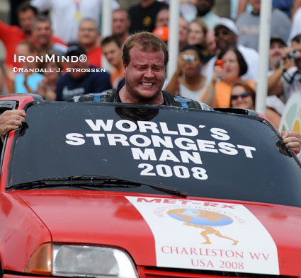 Dave Ostlund was in the driver's seat at the 2008 World's Strongest Man contest, where he finished in third place - his first visit to the WSM podium.  IronMind® | Randall J. Strossen photo.