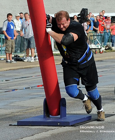 Dave Ostlund heads for home after flattening the final Fingal Finger. Ostlund won the event and finished in the lead overall after the first day of the finals at the 2008 MET-Rx World's Strongest Man contest. IronMind® | Randall J. Strossen, Ph.D. photo.