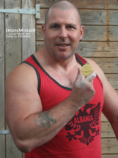 Sure, David Horne won the grip contest, but can he bend his medal in his bare hands, too?  Probably.  IronMind® | Photo courtesy of David Horne.