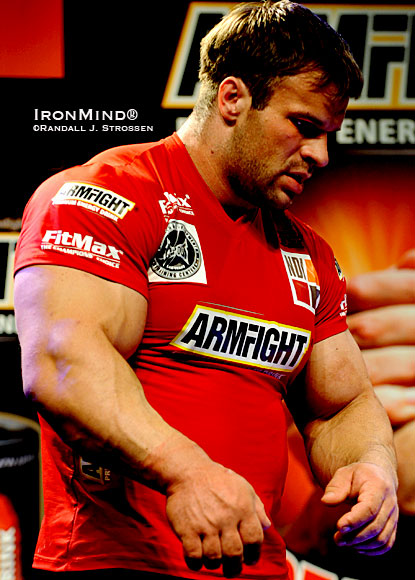 Think you face a daunting challenge in your next workout or competition?  Consider if you were an arm wrestler and next up for you, headed toward the table, was Denis Cyplenkov.  IronMind® | Randall J. Strossen photo.