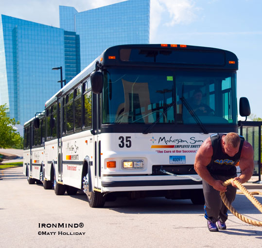 Two full-size buses weren't a match for Derek Poundstone's muscles yesterday afternoon at the Mohegan Sun. IronMind® | Matt Holliday photo.