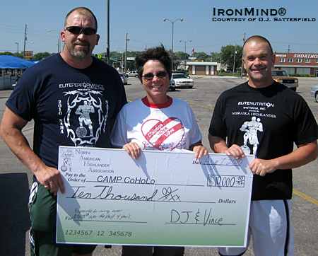 To date, NAHA contributions to Camp CoHoLo exceed $10,000.  Left to right: Richard Vincent (NAHA vice president), Berta Ackerson(Camp CoHoLo representative) and D.J. Satterfield (NAHA president).  IronMind® | Photo courtesy of D.J. Satterfield.