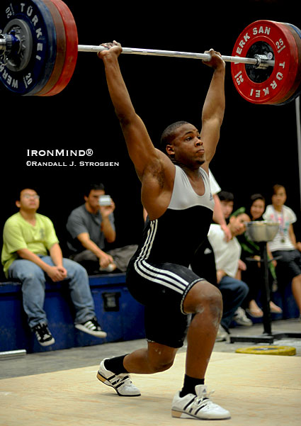 At the 2009 Pacific Weightlifting Association (PWA) Championships in February, Donovan Ford hit this 175-kg clean and jerk, part of his clean sweep of the Junior Men's PWA records.  IronMind® | Randall J. Strossen photo.